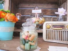 Candy Bar Vintage Peach, Mint, Pink Bar à bonbons Sweet table Caisse en bois