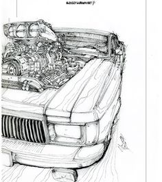 Volga 3102. Quick fun sketch. /Author Aleksey Lubimov. #алексейлюбимовбиоме.ханика #алексейлюбимов #стимпанк #дизельпанк #биомеханика #marchofrobots #steampunk #dieselpunk #alekseylubimov_art #biomechanical #lineart #engine #газ #volga