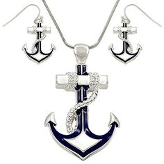 DianaL Boutique Nautical Anchor Pendant Necklace and Earring Set with 24 Snake Chain Enameled Silver Plated by DianaL Boutique -- Awesome products selected by Anna Churchill