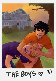 Percy and Jason in front of the Big House at Camp Half Blood Percy Jackson Ships, Percy Jackson Fan Art, Percy Jackson Memes, Percy Jackson Books, Percy Jackson Fandom, Rick Riordan Series, Rick Riordan Books, Jason Grace, Percabeth