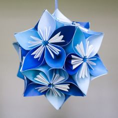 juliedyecraft: Mini Kususdama Blue Flower Ball