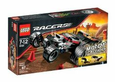 """LEGO Racers Extreme Wheelie by LEGO. $34.99. Car measures 7"""" in length, rear tires are 1.5"""" in diameter. Includes traffic light and cones for even more stunt-racing fun. Set contains 87 pieces. Powered by pull-back motor action. Features iconic racing details like a spoiler, oversized tires, decals and tinted windows. From the Manufacturer                Pull back on the Extreme Wheelie racer and watch it fly. With its huge rear tires, big spoiler and pull-back moto..."""