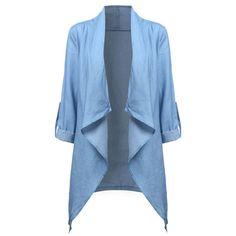 Autum Vintage Denim Blazers Suit Women Long Sleeve Irregular Hem Jacket Coat Ladies Lapel Outwear
