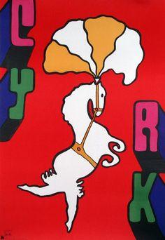 Cyrk poster - dancing Horse Original Polish circus poster designer: Jan Mlodozeniec year: 1972/1979R