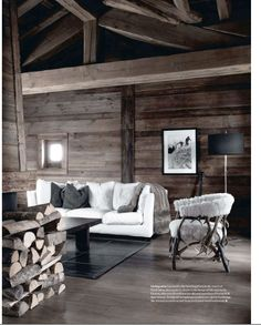 use of grey updates the chalet to a more modern, urban feel ... - Soggiorno Urban Chic