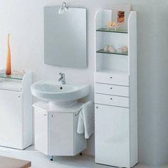 Bathroom Design, Gorgeous Small Bathroom Vanity Sinks White Background With Stand Cabinet Combine Shelves Also Fashionable Mirror Lamp Inspirations: The Benefit of Choosing Small bathroom Vanity Sinks for Your Small Bathroom Setup Small Bathroom Sinks, Small Bathroom Interior, Small Storage Cabinet, Small Bathroom Diy, Bathroom Furniture, Small Bathroom Storage, Tiny Bathrooms, Bathroom Design, Small Bathroom Cabinets