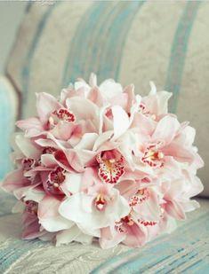 Beautiful cymbidium orchids, bridal or bridesmaids bouquet wedding flowers white and pastel pink Orchid Bouquet Wedding, Bridal Bouquet Pink, Purple Wedding Flowers, Bride Bouquets, Bridal Flowers, Rose Wedding, Floral Wedding, Bridesmaid Bouquets, Trendy Wedding