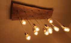 Reclaimed Live Edge Wood Chandelier with Victorian Edison bulbs