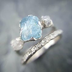 Something Blue. Raw rough aquamarine with diamonds in white gold #sayyes #ido #somethingblue #bridalweek