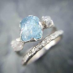 Something Blue. Raw rough aquamarine with diamonds in white gold #sayyes #ido #somethingblue #bridalweek