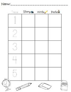 Here's a set of back-to-school themed worksheets where students will trace, stamp and independently print numbers from 1 to 30.