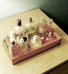 Perfume tray, filled with single scent fragrances.  I love to custom mix something to suit my mood.