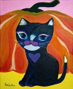 かぼちゃと黒猫ハロウィン2018 Cat Paintings, Space Cat, My Works, Disney Characters, Fictional Characters, Disney Princess, Cats, Gatos, Kitty Cats