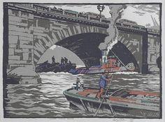 Leslie Moffat Ward (British, 1888-1978) Under London Bridge 17/36, sig