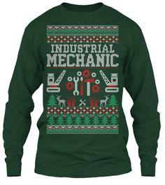 Industrial Mechanic Christmas T Shirt Forest Green Long Sleeve T-Shirt Front