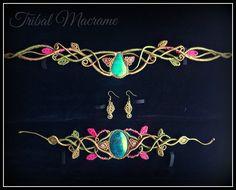 Set of tiara, earrings, and bracelet with chrysocolla.Elven, elfic, celtic, faey, fairy, boho, wedding ... https://www.etsy.com/es/shop/TribalMacrame https://www.facebook.com/tribalmacrame