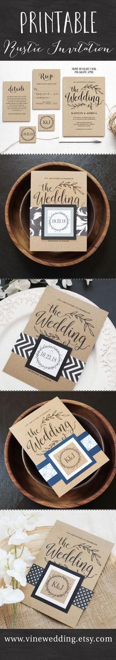 Rustic wedding invitation. Printable wedding invitation suite template.  www.vinewedding.etsy.com #wedding #invitations #invitation #vinewedding #printable #rustic #printable #template #diy #suite #kit #ideas #idea #budget #invites #wording #vintage