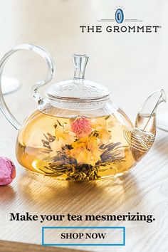 A graceful glass teapot enables you and your teatime guests to delight in the spectacle of vivid floral teas unfolding as they steep. Glass Teapot, Hybrid Tea Roses, Tea Pot Set, Flower Tea, Chinese Tea, My Cup Of Tea, How To Make Tea, Tea Companies, Tea Recipes