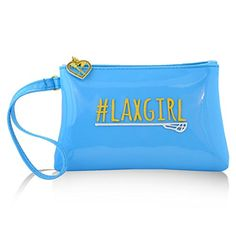 "#LAXGIRL Lacrosse Wristlet Bag - Rylee. Durable waterproof vinyl for maximum durability in all climates and easy cleaning. Comfortable wrist strap measures 6"" for a secure but non restricting fit. Two sided design with gold plated zipper to keep your things safe. Fits any cell phone or smart phone up to 5.5"" x 4.5"". Makes a great pencil and pen case and can be used as an awesome jewelry pouch, even carry your makeup!."