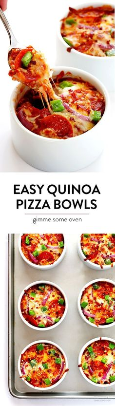 Easy Quinoa Pizza Bowls -- fun to customize with your favorite pizza toppings, and packed with protein!   gimmesomeoven.com #glutenfree