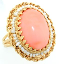 Jumbo Vintage 14k Yellow Gold Angel Skin Coral Ring with Pearls Size 7 5 | eBay