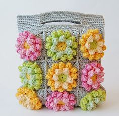 Dada's place: Blooming garden crochet bag Love the colors