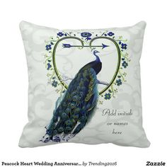Peacock Heart Wedding Anniversary Commemorative Pillow