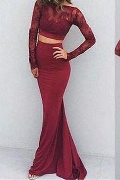 Two Pieces Backless Mermaid Burgundy Long Sleeves Lace Prom Dresses Lace Prom Dress Burgundy Prom Dress Two Pieces Prom Dress Prom Dress Prom Dress Backless Prom Dresses 2019 Prom Dresses Two Piece, Prom Dresses 2018, Backless Prom Dresses, Mermaid Prom Dresses, Party Dresses, Bridesmaid Dresses, Ring Dance Dresses, Wedding Dresses, Prom Gowns