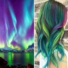 This Galaxy Hair Trend Is Out-Of-This-World ❤ liked on Polyvore featuring hair, hair styles and filler