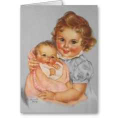 """Vintage, by Charlotte Becker, """"The Little Mother"""" from """"Ideals"""" Family issue Vintage Baby Pictures, Images Vintage, Baby Images, Children Images, Vintage Artwork, Vintage Prints, Decoupage Vintage, Vintage Greeting Cards, Vintage Postcards"""