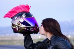 Girl biker kissing her helmet | Flickr - Photo Sharing!