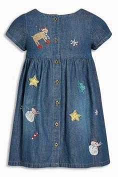 Next-sukienka PL - 5761299817 - oficjalne archiwum Allegro Frocks For Girls, Girls Dresses, Chambray Fabric, Kids Patterns, Kid Styles, Jeans Dress, Kind Mode, Kids Wear, Baby Dress