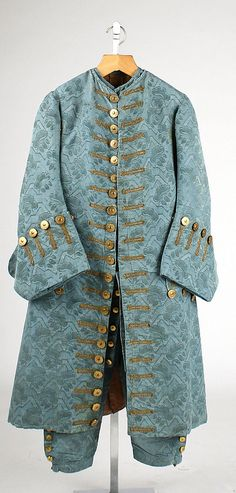 Suit: Frockcoat, waistcoat and breeches, 1725–50, French, silk