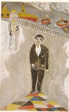 Bárbaro Rivas, auto-retrato con Santa Barbara, 1956. Figurative, Painting, Canvases, Venezuela, Portraits, Historia, Autos, Artists, Hipster Stuff