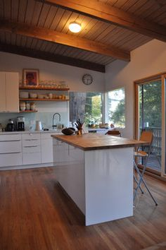 Mid Century Modern Kitchen Love The Wood Against White