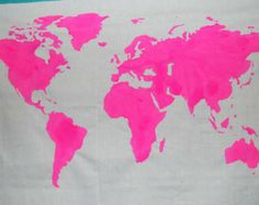 OH SO PRETTY IN HOT PINK world map [World Map Wall Tapestry in Hot Pink, Etsy]