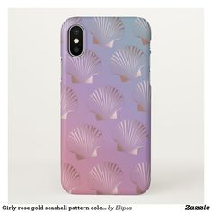 Girly rose gold, pink, purple, and teal ombre effect iPhone case for your iPhone featuring a pretty seashell pattern. Pretty Iphone Cases, Pink Phone Cases, Glitter Phone Cases, Teal Ombre, Purple Teal, Iphone 8 Plus, Iphone 7, Cute Cases, Decor Room