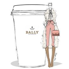 Today I'm dreaming about a giant BALLY Latte with a hint of retro and side of peach.... @bally #MeganHessCoffeeGirls
