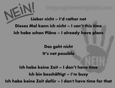The Many Different Ways to Say 'No' in German - learn German,vocabulary,german,communication,nien,no