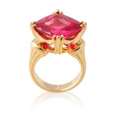 Square Tourmaline Ring - Colored Gemstones - Jewelry - Fairchild & Co.  Four prong set 15.53ct. square pink tourmaline and 18ky yellow gold ring. Size 7.50.