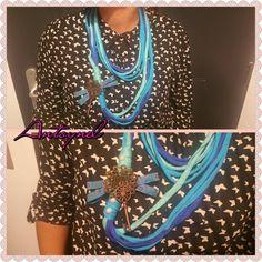 sautoir traphilo bleu pendentif rosace et cles : Collier par antoynel #trapillo #zpagetti #tektek
