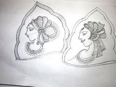 how to draw dulha-dulhan bridal mehendi shape 1 - http://www.mehndiplus.com/how-to-draw-dulha-dulhan-bridal-mehendi-shape-1/
