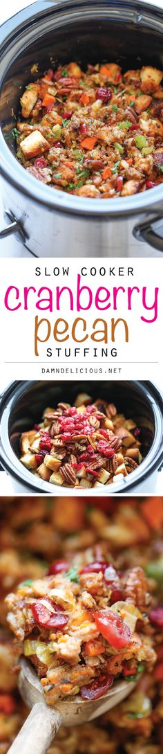Slow Cooker Cranberry Pecan Stuffing - The best and easiest stuffing ever made right in the crockpot, making Thanksgiving prep just that much easier! #Recipe #Thanksgiving #SlowCooker