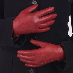 "Red leather cashmere lined fashion gloves for women. Team with our feminine ""RED"" Collection £59.00"