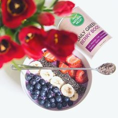 """Love in a bowl! Made by @desbelleschoses using BERRY BOOST, a unique combination of nutrients from """"Greens"""" (Spirulina, Spinach etc.) and """"Berries"""" (Acai, Camu Camu, Goji etc.)"""