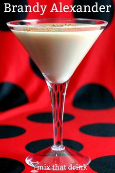 """The Brandy Alexander is a dessert drink: chocolatey, sweet, creamy and smooth. Drinkers sometimes refer to it as a """"milkshake"""" because the alcohol taste is so light. It's a great choice for light drinkers, or anyone with a sweet tooth. Cocktail Desserts, Dessert Drinks, Cocktail Drinks, Fun Drinks, Yummy Drinks, Alcoholic Drinks, Mixed Drinks, Cocktail Recipes, Martini Recipes"""