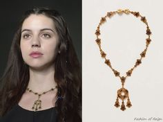 episode 2x01 many other episodesMary wears this one of a kind ShopFiligree via Anthropologie Vintage Midnight Necklace.  In the episode Mary wears it with Reign Costumes original top and skirt, Jennifer Behr headband, Gillian Steinhardt labyrinth and signet rings