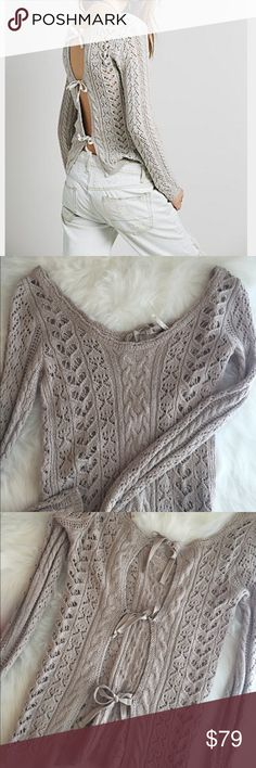 Free people crochet ribbon tie sweater Ribbon tie up back pullover, fitted textured knit sweater with open back ribbon ties. Stretchy and wide shoulder for off the shoulder look. Excellent condition! The free people tag came off one side but can easily be fixed or taken off! Free People Sweaters
