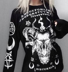 Disturbia Ouija Long Sleeve Tee the spirits are calling u, bb! This long sleeve tee has a round neckline, white graphics and text on the front N' back, and graphics on the sleeves. Witch Fashion, Dark Fashion, Grunge Fashion, Gothic Fashion, Punk Outfits, Gothic Outfits, Fashion Outfits, Fashion Tips, Alternative Outfits