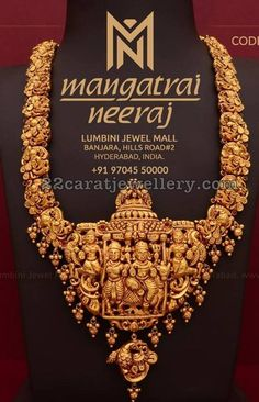Peacock and god pendant attached in the center. Small gold balls and nakshi balls hanging across the bottom. For Queries call or WhatsApp us on Gold Temple Jewellery, Real Gold Jewelry, Gold Jewellery Design, India Jewelry, Antique Jewellery, Indian Wedding Jewelry, Bridal Jewelry, Gold Bangles, Gold Necklaces